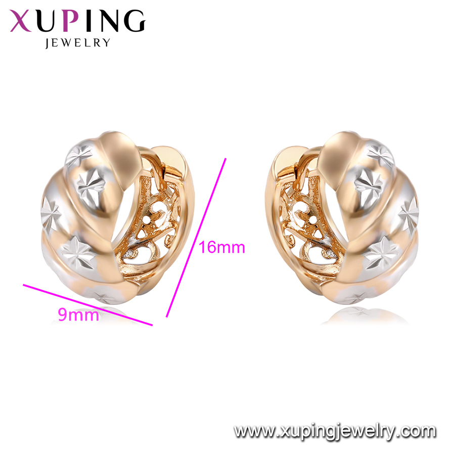 95915 xuping two tone accessories earrings, cheap earrings made in china, ear rings for women