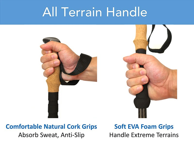 Cork grip portable 100% carbon fiber quick lock anti-shock telescopic walking hiking sticks trekking pole