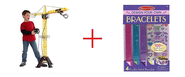 Fast Lane Mega Crane and Melissa & Doug Design-Your-Own Bracelets - Sticker Style Braclets - Bundle