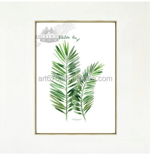 Impreso pintura Wall Posters Arte de pared paneles hojas verdes ...