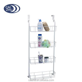 Over The Door Mounted Bathroom Closet Kitchen Pantry Storage Organizer Wire Shelf