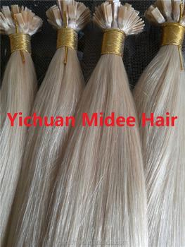 Light Brown Keratin Human Hair Extensions Flat Tip 1g Pc Platinum