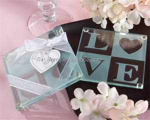 wedding favor and wedding giveaways--LOVE Glass Coaster Set party gift