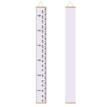 Baby Height Growth Chart Ruler Kinbon Kids Roll Up Canvas Height
