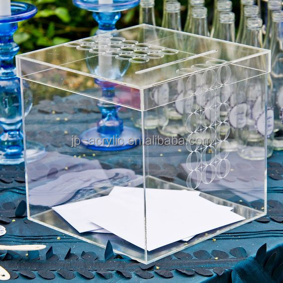 Custom New Design Acrylic Vintage Wishing well Engraved Box Wedding