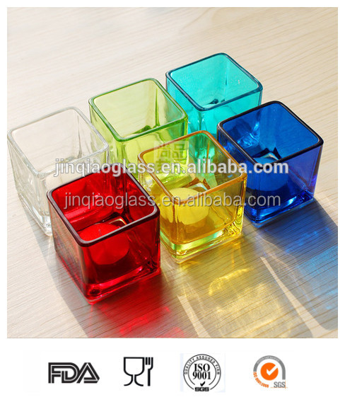 Fancy glass candle jar/ candle holder with different colors for weeding or decoration/candelabrum/candlestick