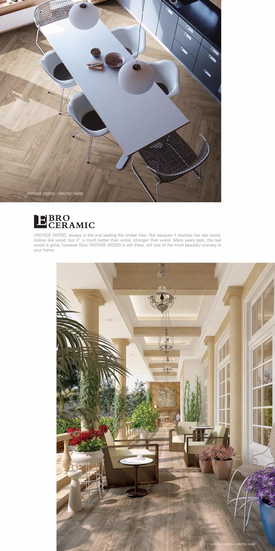 2017 light grey color non-slip wood look porcelain floor tile