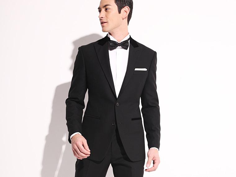 Buy Custom Made Black Tuxedo Suit Slim Fit Wedding Suit Skinny ...