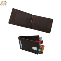 top hot-selling online custom logo leather RFID money clip wallet men