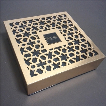 Luxury Box Packaging Wood Engrave Laser Cutting Gold Foil