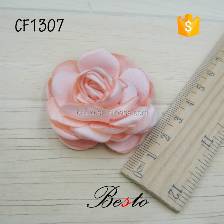 4.5CM handmade burn edges stick hair satin fabric flowers