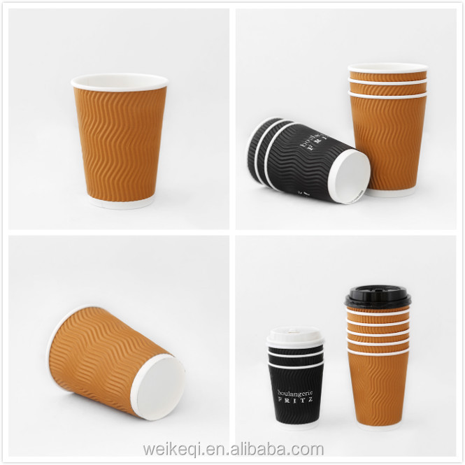 clean leakpoof high-end insulated single double ripple wall wrapped paper cup pla coating 8oz 10oz 12oz 16oz 20oz wholesale pape