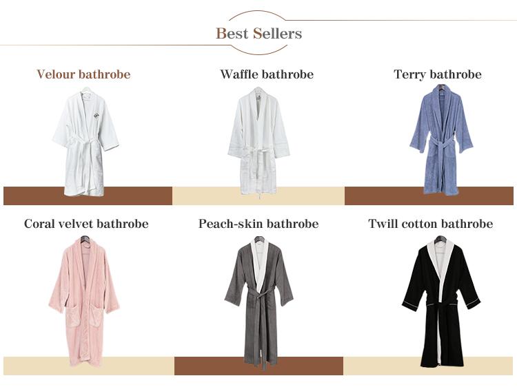 Groothandel velours 100% katoenen geborduurde hotel witte badjas
