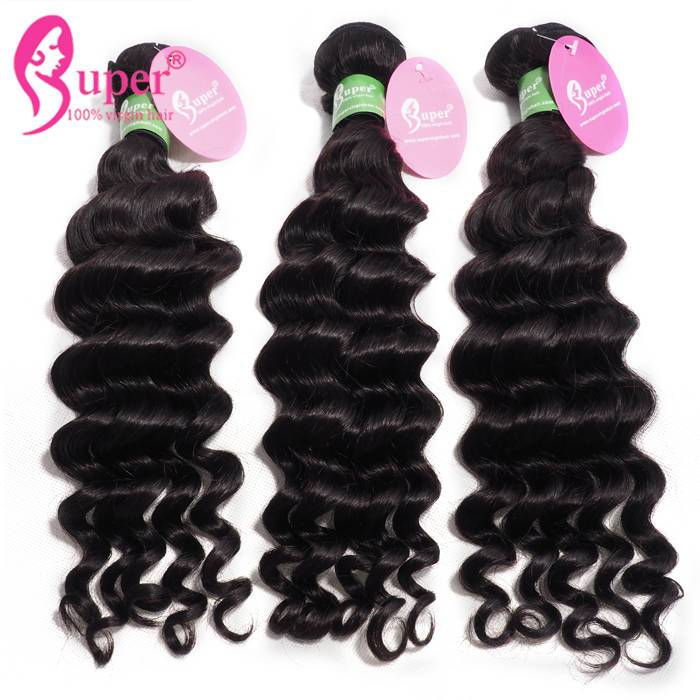 Premium Natural Human Deep Wave Malaysian Virgin Hair 3 Bundle Deals With Tangle Free