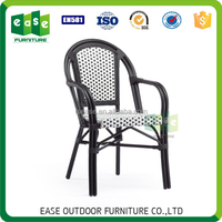 Stacking french style bistro synthetic rattan woven arm chairs -E6016