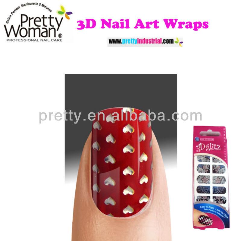Christmas Nail Art 3d Nail Stick Love Heart Designed Nail Wraps ...