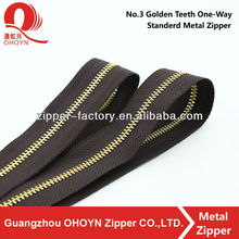 NO.3 High Quality light gold standard teeth metal zipper