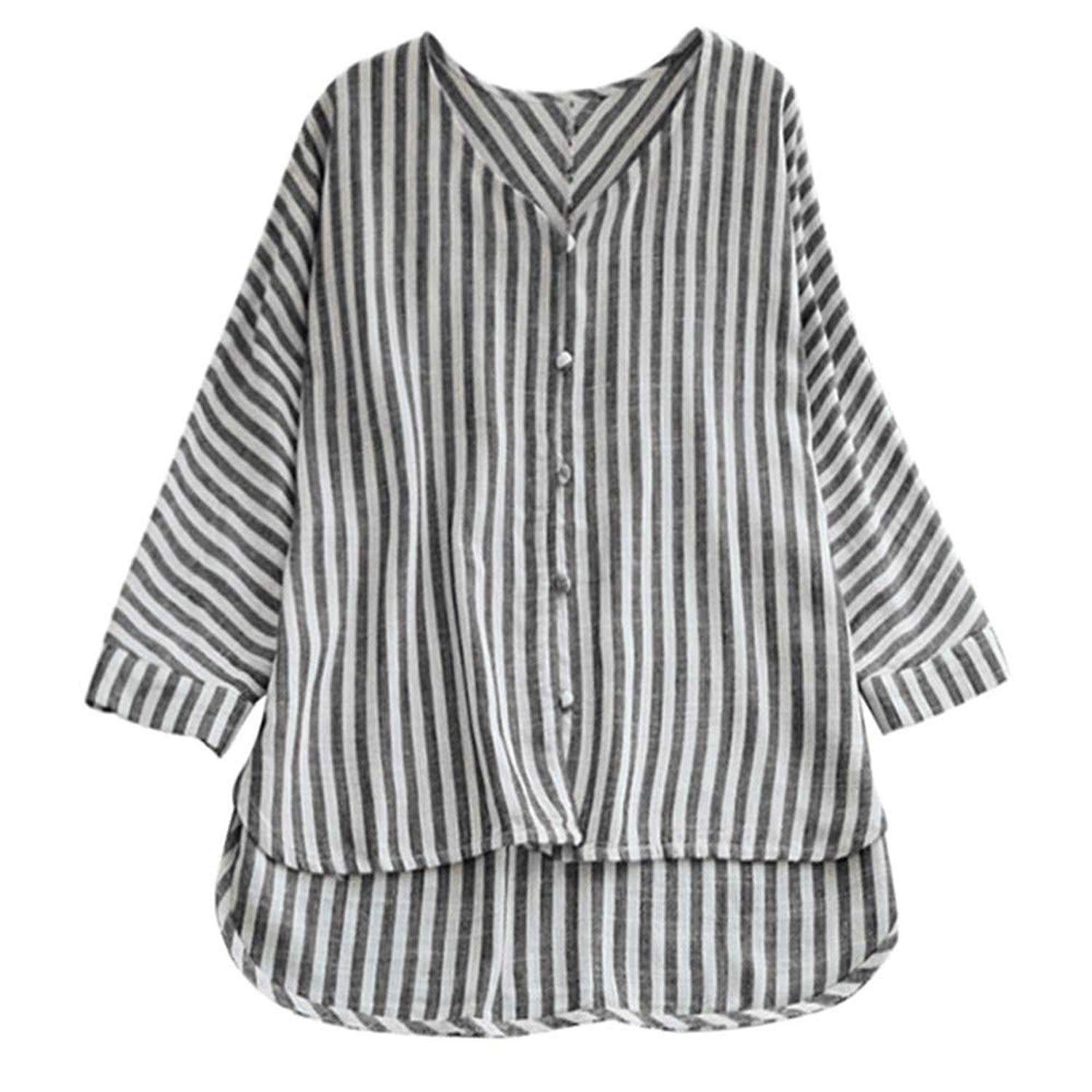 MODOQO Women's Striped Tops Blouse 3/4 Sleeve V Neck Button Casual T-Shirt