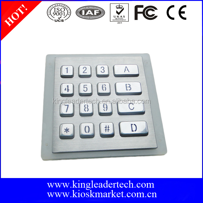 Access control system keypad with backlight and 4x4 matrix