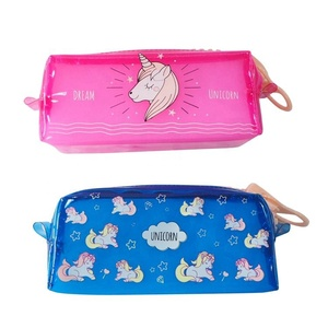Custom Unicorn Carton Printing Pencil Case/Clear PVC Pencil Bag With Zipper