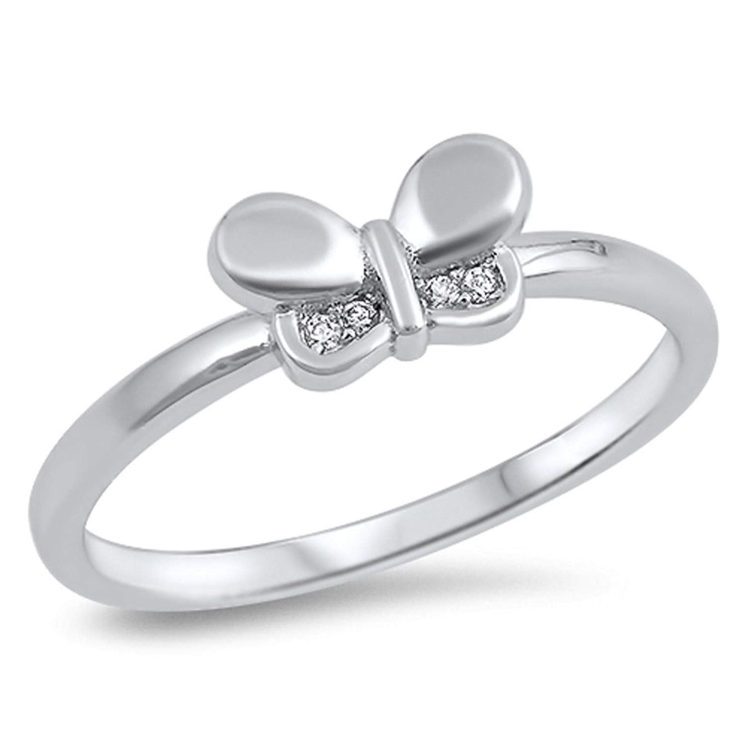 CloseoutWarehouse Simulated Sapphire Cubic Zirconia Double Band Flower Ring Sterling Silver