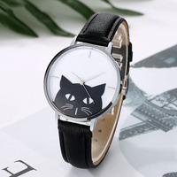 Promotion Women Stainless Steel Case Leather Band Casual Fashion Female Cat Watches Luxury Brand Bracelet Quartz Watch