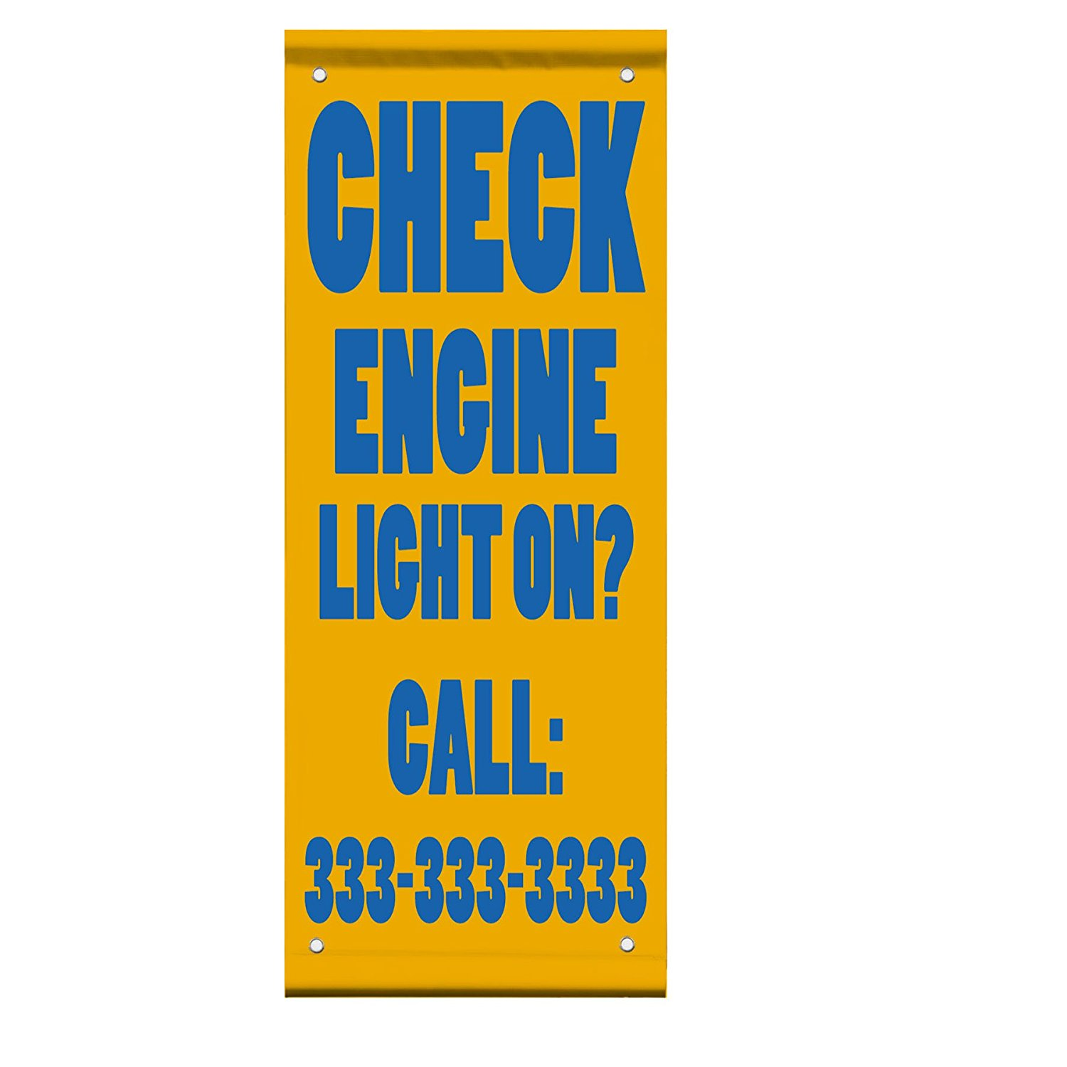Check Engine Light On? Custom Number Style 2 Double Sided Pole Banner Sign 24 in x 36 in w/ Wall Bracket