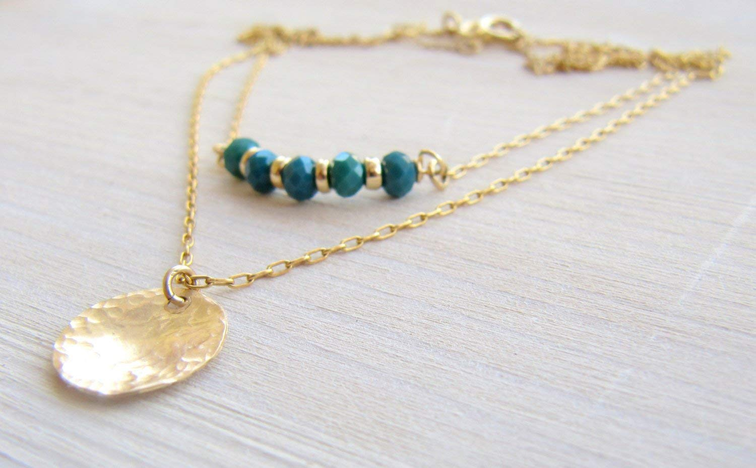 Boho Gold Filled Set Of Two Necklaces - A Green Crystal Beads Bar Necklace And A Disc Layered Necklaces - Artisan Dainty Handmade Jewelry