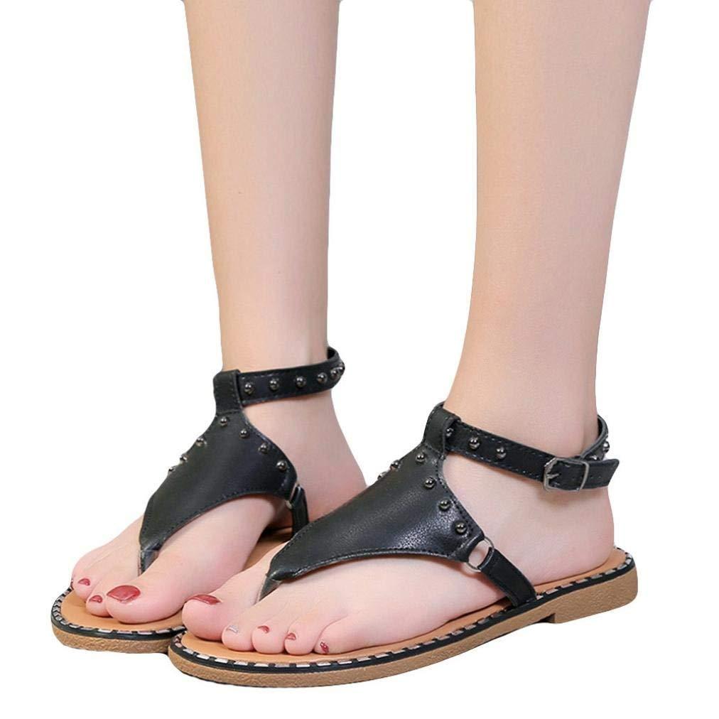 a7fbd6193 Elevin(TM) Women Flat Sandals Platform Peep-Toe Beads Summer Causal Shoes  Flip