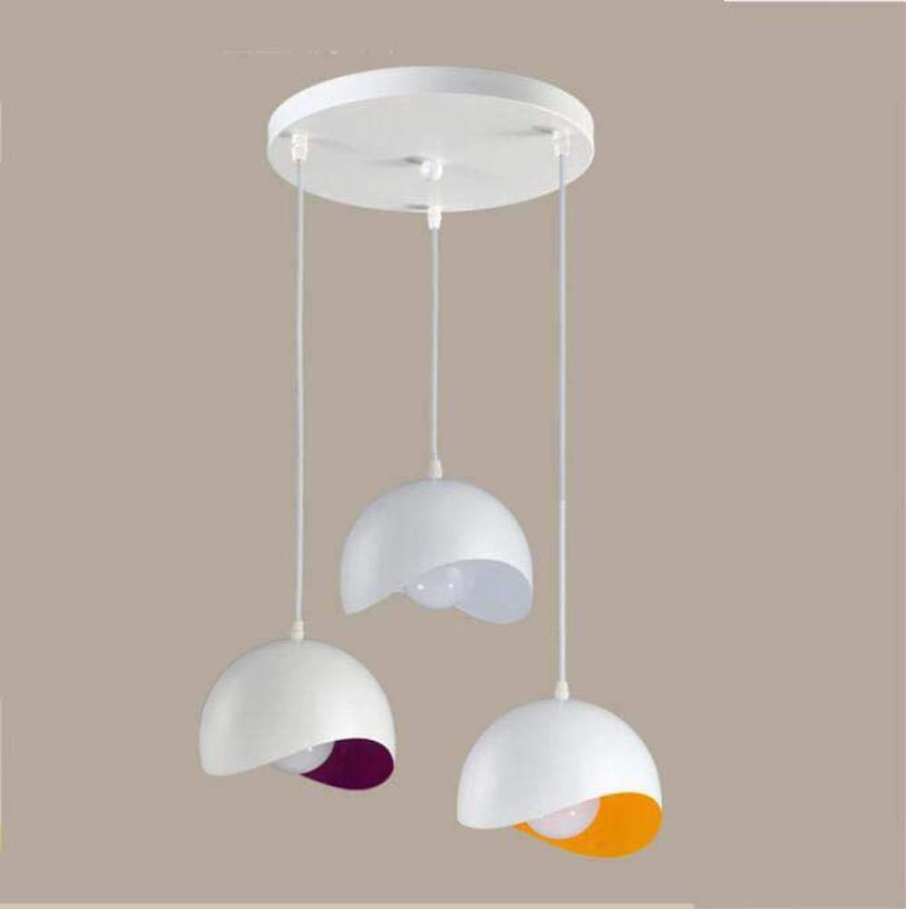 Onfly Pendant Lamp,3 Head Irregular Semicircular Geometric Art Chandelier,color Wind Bell Hanging Lamp,Restaurant/living Room Deco Lamp (without Bulb) (Color : Round, Size : 20cm)
