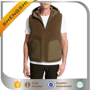 2017 Hot sale zip front fashion brown reversible wool hooded vest