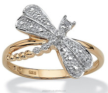 Two Tone Charm Cubic zircon Dragonfly <span class=keywords><strong>Cincin</strong></span> (PES5-231)