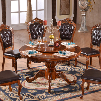 Buy Avec Salle Manger Antique En table Chaises table Table À Cuir Ronde Rotative Antique Ronde D29EWIYH