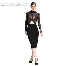 L903 back open eyelash decoration lace midriff fitted black long sleeve dress