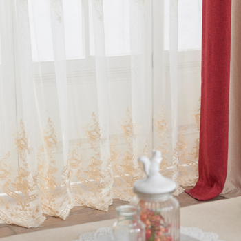 100%Poly Home Decoration Embroidery Sheer