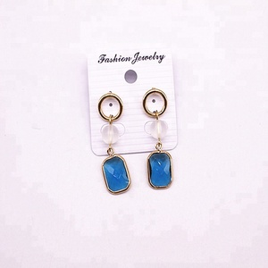 London Blue Topaz Hydro Gemstone Gold Plated Handmade Design Bezel Setting Jewelry Dangle Earring
