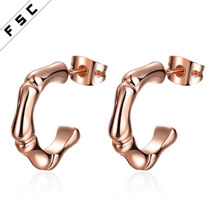 Factory direct supply cheap rose gold plated geometrical shape half a circle stud women earrings