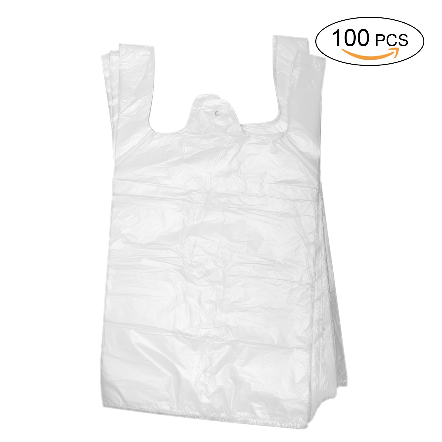 Topgalaxy.Z Plastic T Shirt Bags, Shopping Bags, Merchandise Bags,Plain Grocery Bags, kitchen trash bags, Reusable Grocery Plastic Bags 100 Count