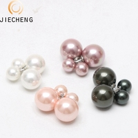 wholesale price and hot sale style zircon genuine freshwater seashell pearl dangle earrings with white pink purple black color
