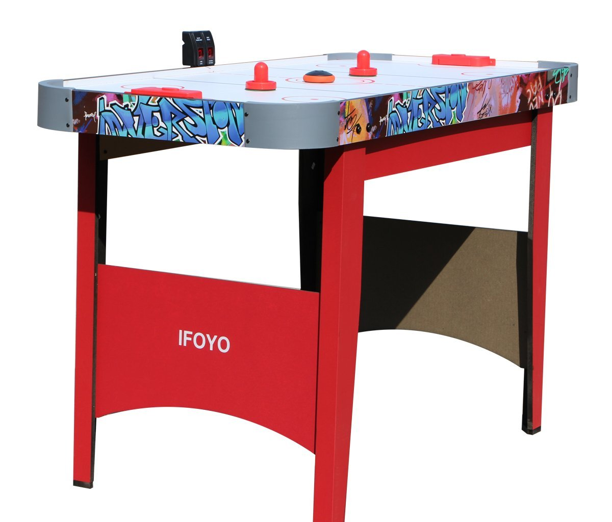 IFOYO Air Hockey Table, 48 Inches/4ft Small Hockey Table for Kids and Adults with Electronic Scorer, Red