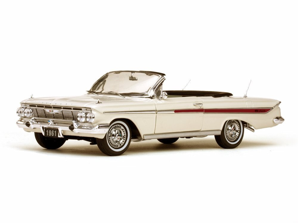 1961 Chevy Impala Convertible, White - Sun Star 3405 - 1/18 Scale Diecast Model Toy Car