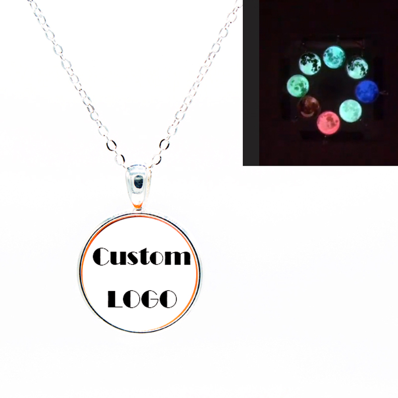 NL047 JN crescent&full moon phase necklace design glow moon in the dark jewelry