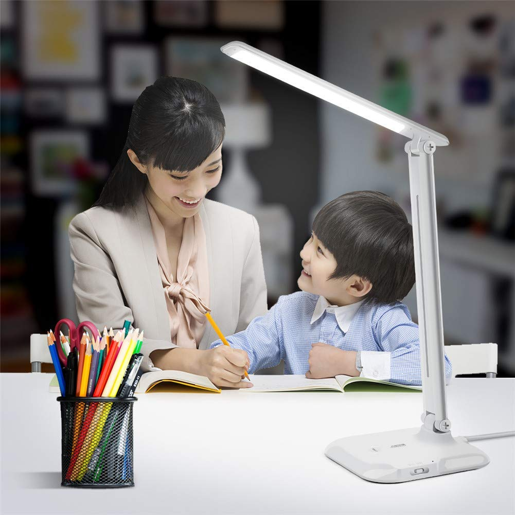 LED Desk Lamp with USB Charging Port, LED Table Lamp, AIMENGTE Touch Sensor Dimmable LED Reading Light, Eye-Caring Brightness Adjustable Study Book Night Lamp for Students. (Without Built-in Battery)