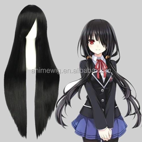 Kualitas Tinggi 100 Cm Panjang Wig Rambut Hitam Lurus Final Fantasy Anime Cosplay