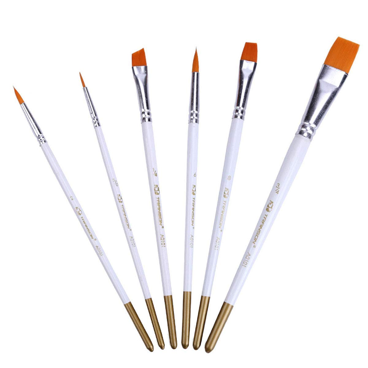 Artoop 6 Pieces Round Pointed Tip Nylon Hair Brush Set Flat Artist Acrylic Detail Paint Brush Set for Watercolor Oil Painting,White