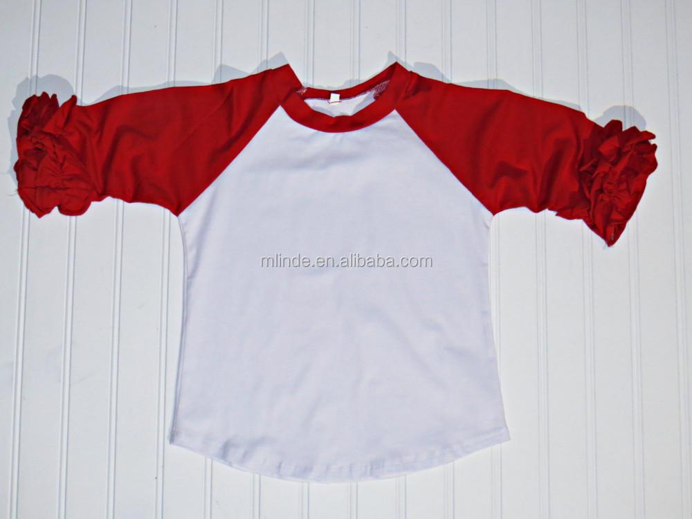 Cheap Blank Icing Ruffle Shirt Toddler Girls Football Team