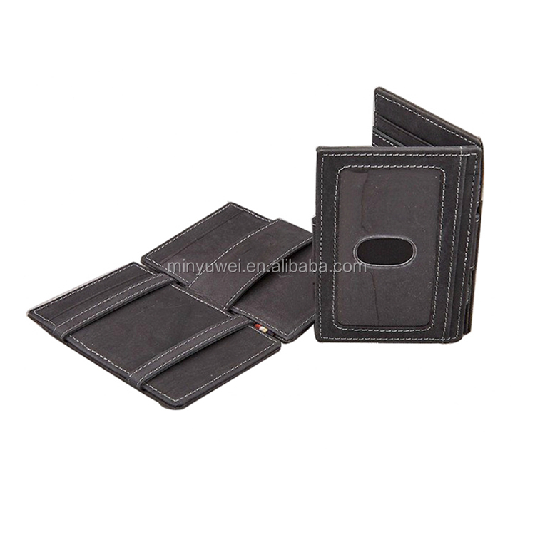 leather bands High-end Mens leather magic wallet with ID window