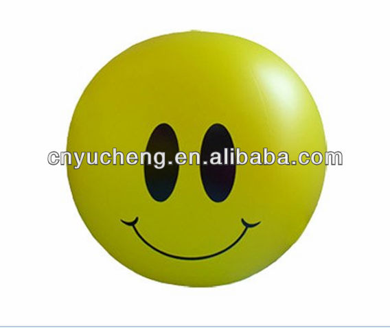inflatable beach ball with smail face
