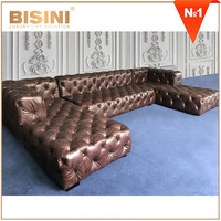New Design Vintage Button Tufted Chesterfield U-Shape Sofa Couch/ American Style Brown Genuine Leather Sofa Set For Living Room