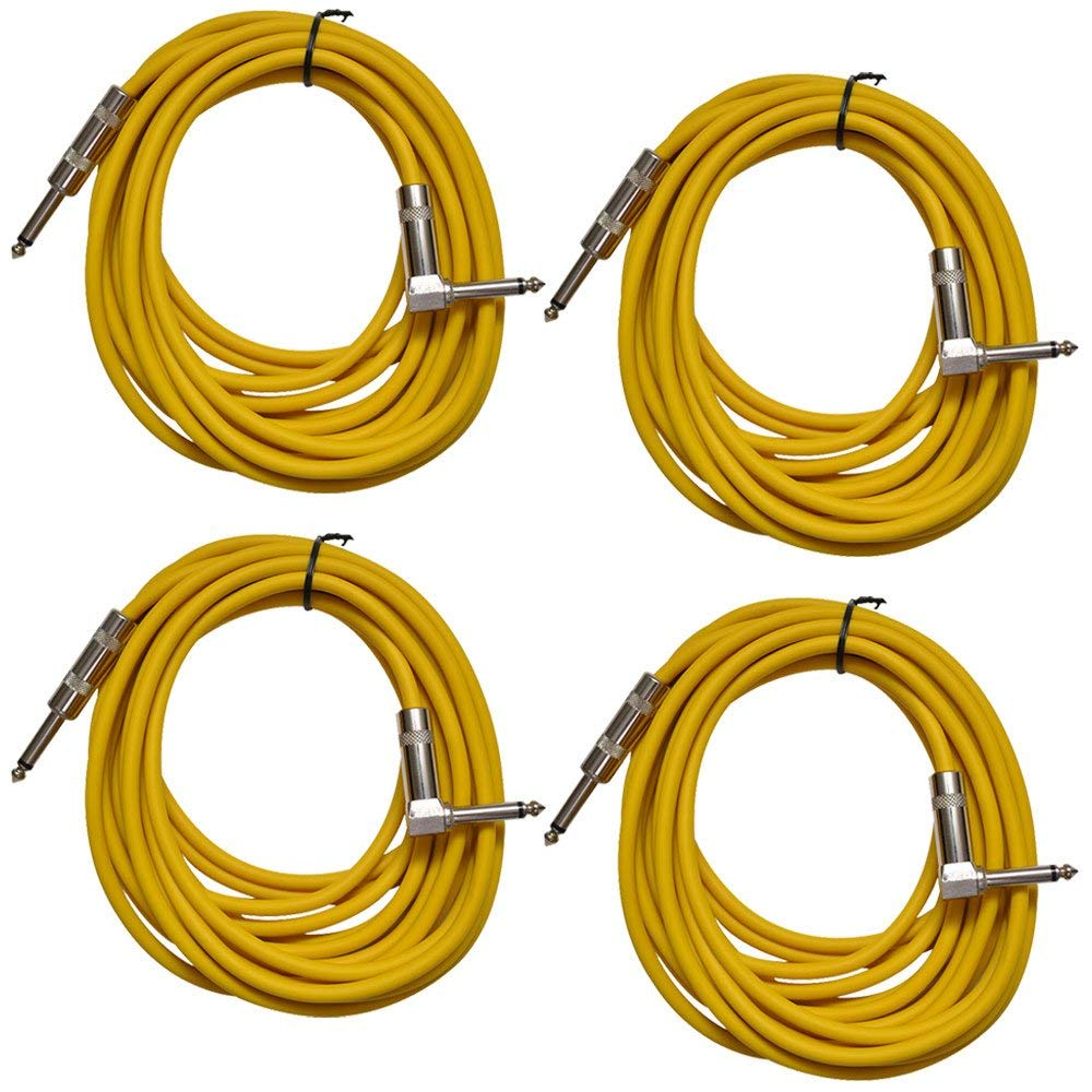 Seismic Audio - SAGC20R-Yellow-4Pack - 4 Pack of Yellow 20 Foot Right Angle to Straight Guitar Cables - 20' Yellow Guitar or Instrument Cables